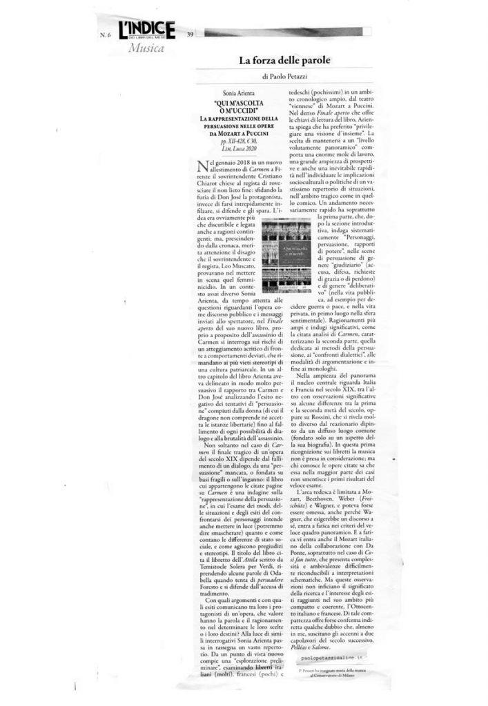 Recensione di Paolo Petazzi al libro Qui m'ascolta o m'uccidi di Sonia Arienta