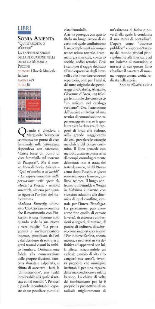 """Recensione di Sandro Cappelletto al libro """"Qui m'ascolta o m'uccidi"""" di Sonia Arienta, LIM editore."""